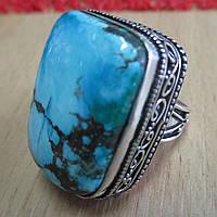"""Прямоугольное кольцо """"Квадро"""" с натуральной бирюзой-туркизом, размер 17,3 от студии LadyStyle.Biz"""