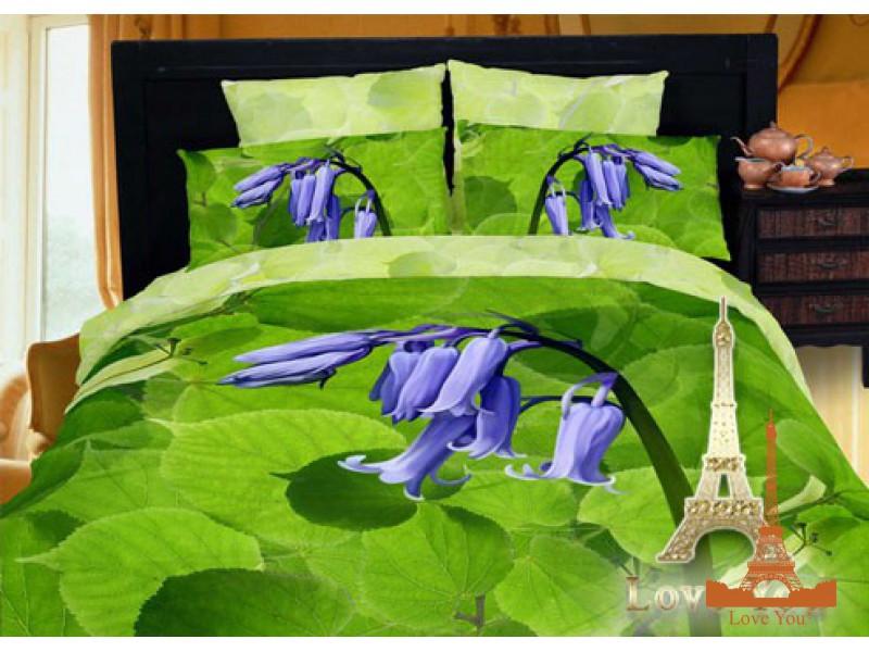 Комплект постельного белья Евро 3D Сатин 200х220  Перезвон ор 124