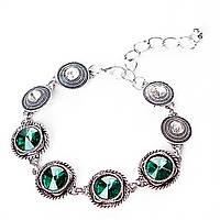 [18см] Браслет женский, мягкий, украшен зелёными декоративными камнями круглой формы