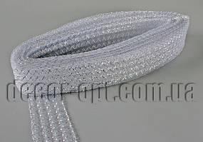 Сетка белая гофрированная с люрексом для бантов и декораций 4,5см/25ярд