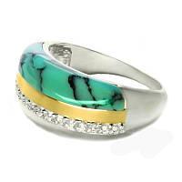 Женское серебряное кольцо с золотыми пластинами Диана бирюза.
