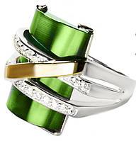 Женское серебряное кольцо с золотыми пластинами Оливия зеленый улексит.