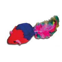 UniZoo (УНИ) Игрушка для кошек мышь цветная натуральная с погремушкой и пером 5см