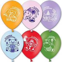 """Латексные воздушные шары BELBAL Бельгия пастель круглые с рисунком 10 дюймов/25см,""""С Днем Рождения"""", 50 штук"""