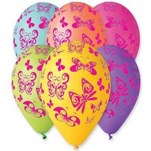 """Повітряні кулі латексні Gemar Італія пастель круглі з малюнком 12 дюймів/30 см,""""Метелики"""", 100 штук"""