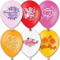 """Латексные воздушные шары BELBAL Бельгия пастель круглые с рисунком 10 дюймов/25 см,""""Свадьба"""", 50 шт в упаковке"""