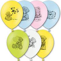 Латексные воздушные шары BELBAL Бельгия пастель круглые с рисунком 12 дюймов/30см, Мишка Me To You, 50 шт