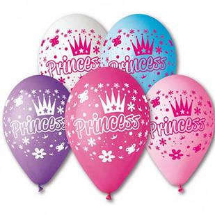 Латексные воздушные шары Gemar Италия пастель круглые с рисунком 12 дюймов/30 см, Принцесса, 100 штук