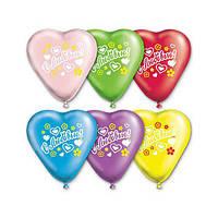Латексные воздушные шары Gemar, расцветка: Пастель, форма: Фигурные Сердце с рисунком 10 дюймов/25 см,100 штук