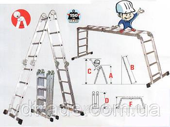 Лестница трансформер 4х4, алюминиевая