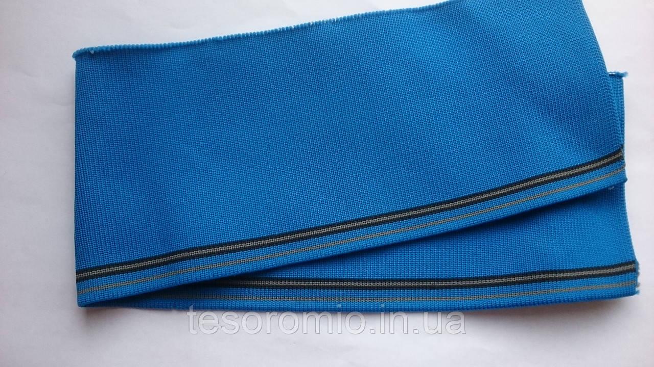 Довяз - воротник #6. Цвет синий с чёрными и темно-бежевыми полосками.