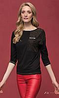 Женская блуза из вискозы черного цвета с рукавом три четверти. Модель Sati Zaps. Коллекция осень-зима 2017.