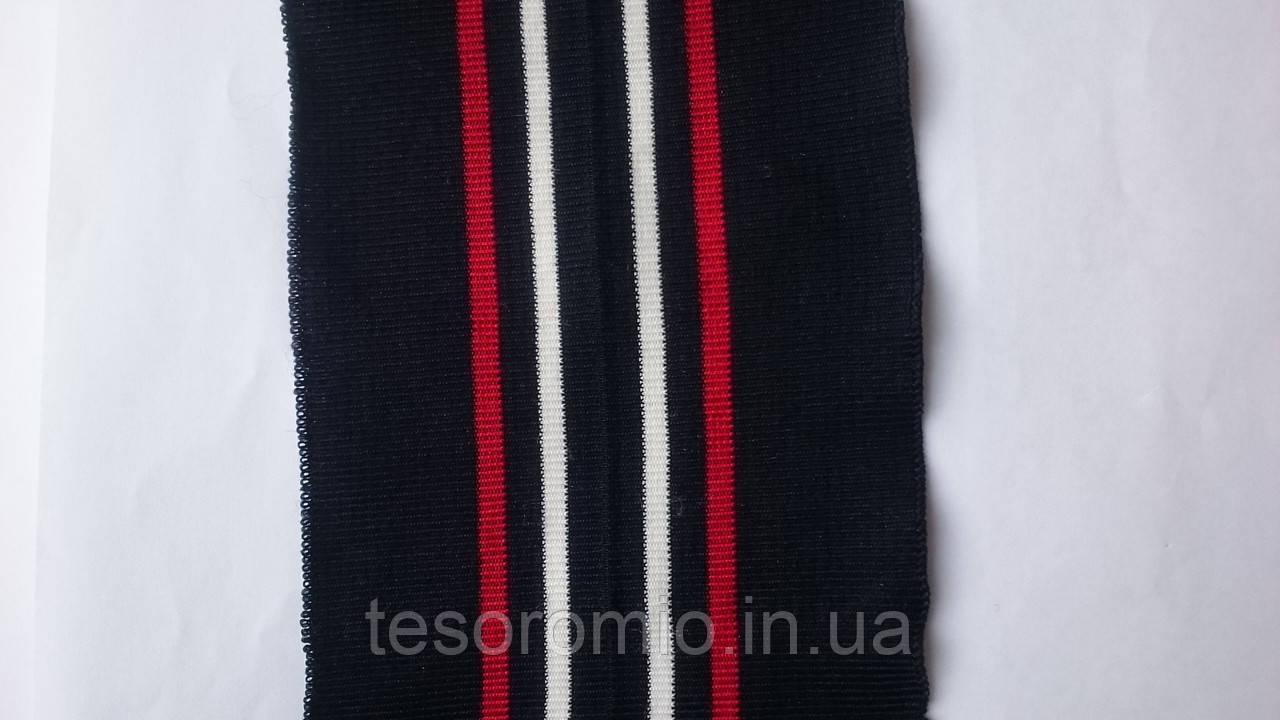Довяз #60, с перегибкой. Темно - синий с красной и белой полосками. Длина 104 см, ширина 10 см.