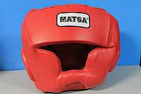 Шлем боксерский с полной защитой Кожа MATSA ME-0147-L(R) (красный, р-р регул.)