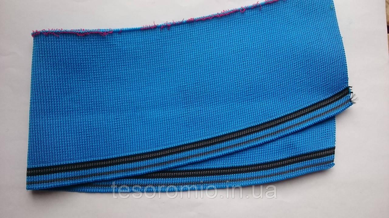 Довяз-воротник #19. Синий с чёрными и серыми полосками. Длина 40 см, ширина 9,5 см.