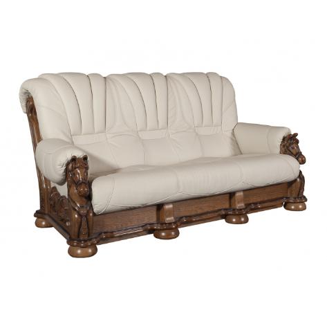 """Кожаный раскладной диван с резьбой  """"MUSTANG"""" (200см)"""