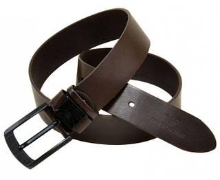Коричневый кожаный мужской ремень 402281 brown 4 см
