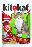 Kitekat для взрослых кошек с говядиной в желе, пауч 100 гр