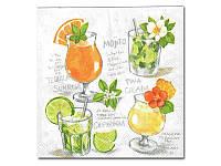 Салфетка для декупажа — Летние коктейли,  33x33 см