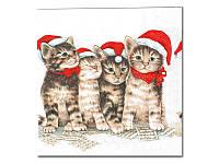 Салфетка для декупажа — Рождество для котят,  33x33 см