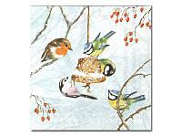 Салфетка для декупажа — Птички и колокольчик,  33x33 см