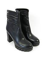Черные стильные ботинки на каблуке, фото 1