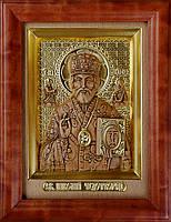 Икона деревянная резная с сусальным золотом Святой Николай Чудотворец (Угодник), фото 1