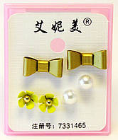 Серьги-гвоздики-3 пары (золото)