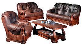 """Кожаный диван с креслом """"Барон 4090""""  (3н + 1)"""