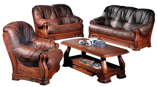 """Кожаный диван с креслом """"Граф 4090""""  (3р+1)"""