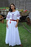 Шикарное белое платье с вышивкой