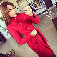 Пальто женское На пуговицах с поясом Красное