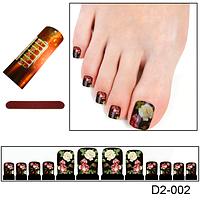 """Цветочный дизайн ногтей на ногах """"Роза на черном фоне"""""""