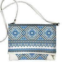 Женская сумка через плечо с вышитым голубым орнаментом