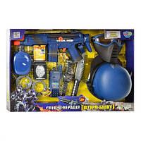 Детский набор полицейского 33550, автомат трещотка, маска, пистолет, бинокль, коробка 59*40см