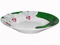 Тарелка суп 21 см Орхидея (зеленый ободок). Набор 12 шт