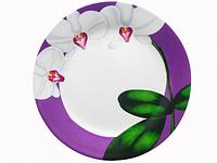 Тарелка 23 см Орхидея (фиолетовый ободок). Набор 12 шт