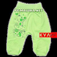 Ползунки (штанишки) на широкой резинке р. 62 ткань КУЛИР 100% тонкий хлопок ТМ Алекс 3166 Зеленый