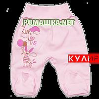 Ползунки (штанишки) на широкой резинке р. 62 ткань КУЛИР 100% тонкий хлопок ТМ Алекс 3166 Розовый