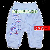 Ползунки (штанишки) на широкой резинке р. 62 ткань КУЛИР 100% тонкий хлопок ТМ Алекс 3166 Голубой