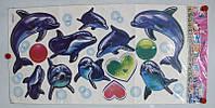 """Декор - купаж """"Дельфины"""" Размер наклейки 68 х 34 см."""
