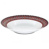 Тарелка суп 21 см Вышиванка красное и черное.