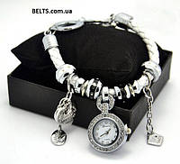 Часы  женские с  кожаным  браслетом  Pandora Пандора (белые)