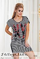 Женская туника-платье в полоску NY