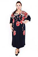 Нарядное платье батал Опиум красные маки (56-60), фото 1