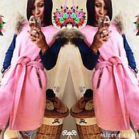 Женская кашемировая жилетка-накидка с мехом, фото 1