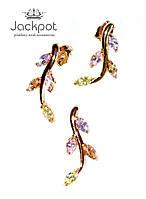 Набор серьги и кулон листики с фианитами ПОЗОЛОТА, фото 1