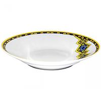 Тарелка суп 21 см Вышиванка желто-голубой ромб.