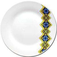 Тарелка 18 см  Вышиванка желто-голубой ромб.