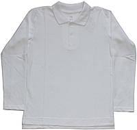 Рубашка-поло белая для мальчика, рост 128 см, ТМ Ля-ля